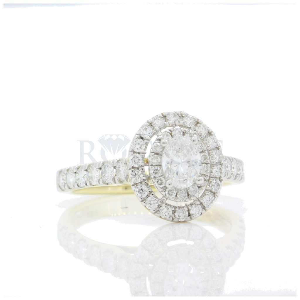 14k Oval Double Halo Engagement Ring 1 Carats