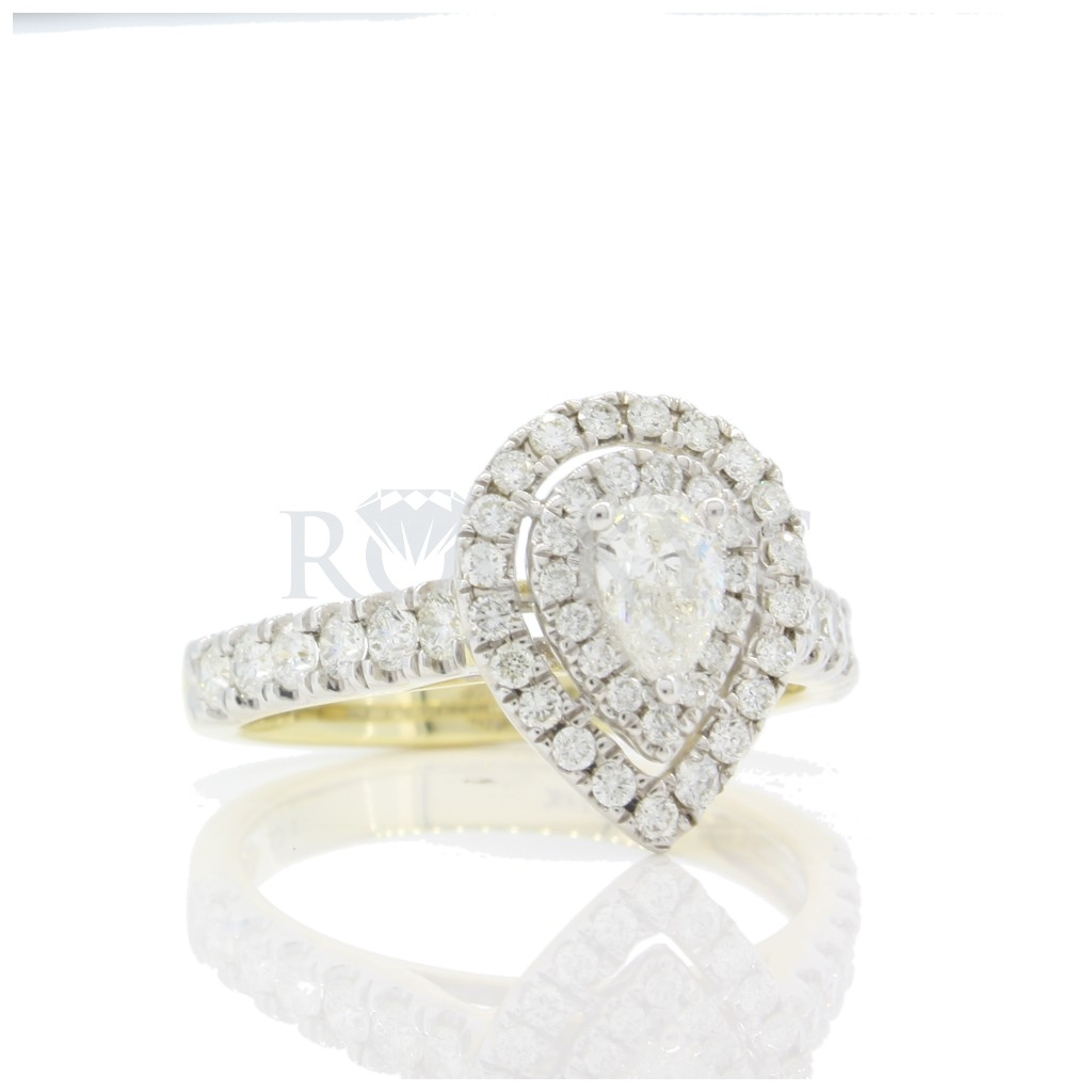 Pear Shape Double Halo Engagement Ring 1 Carat
