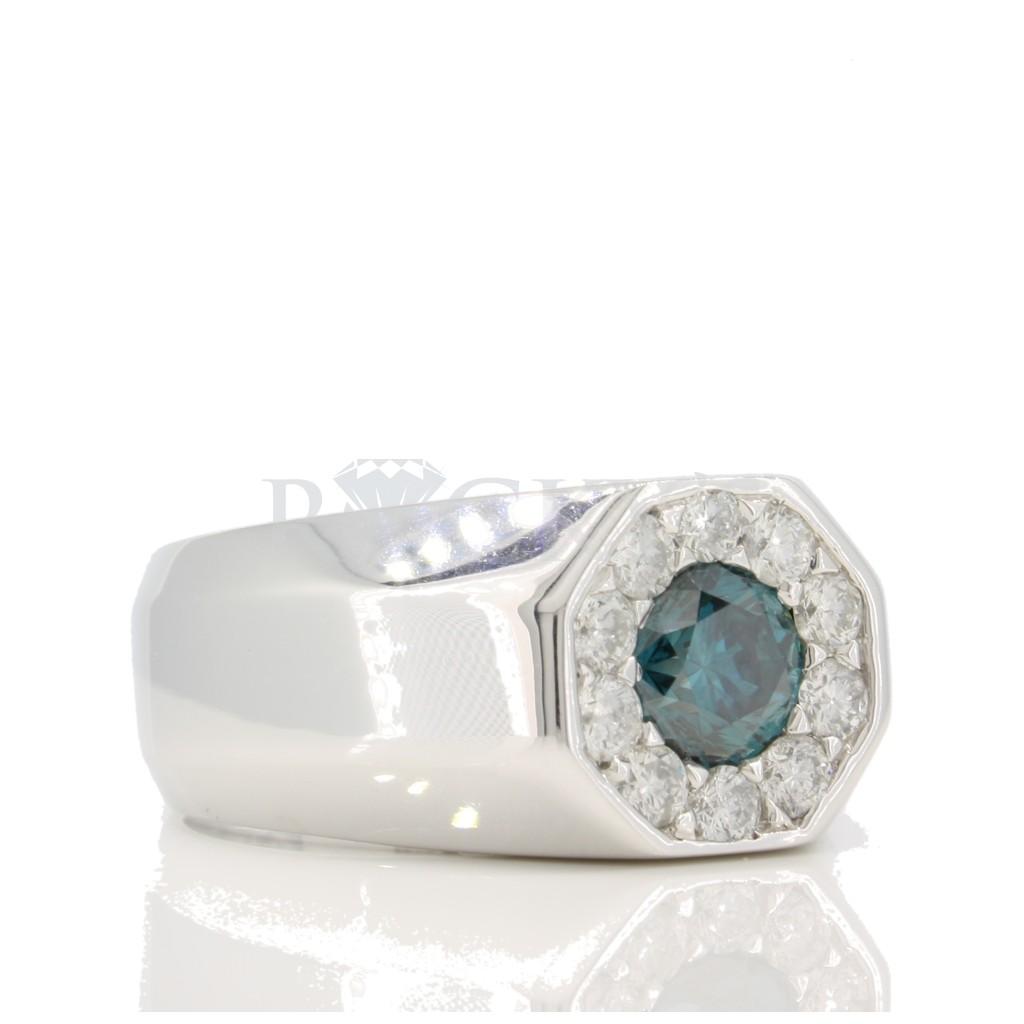Single Solitare Blue diamond Men's Ring 2.39 carats
