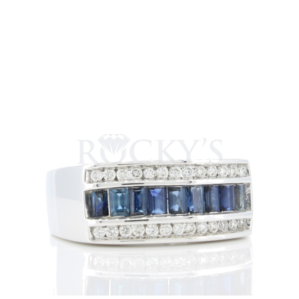 Men's Sapphire Diamond Ring with 1.81 Carats