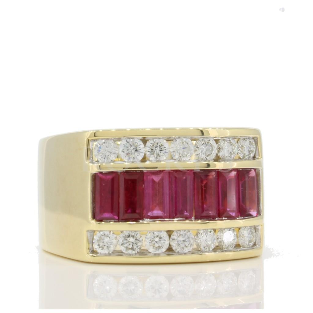 Yellow 14k Mens Ring 1.93Tw Baguette Ruby 0.92Tw Rd Shape Diamond