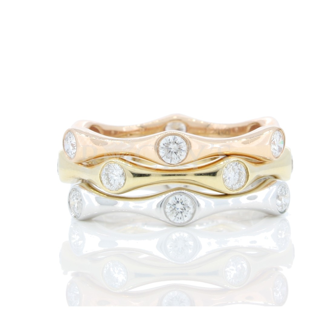 Tri-Tone Diamond Stackable Bands with 1.00 Carats