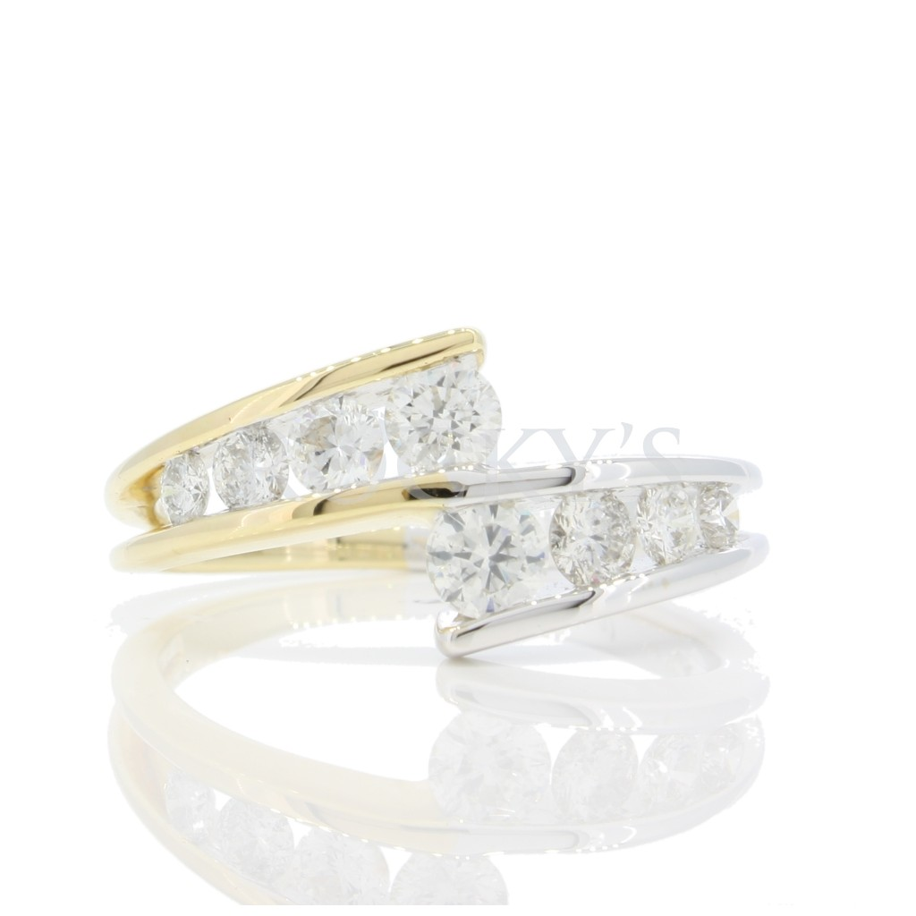 Two-Tone Diamond Band with  0.91 carats