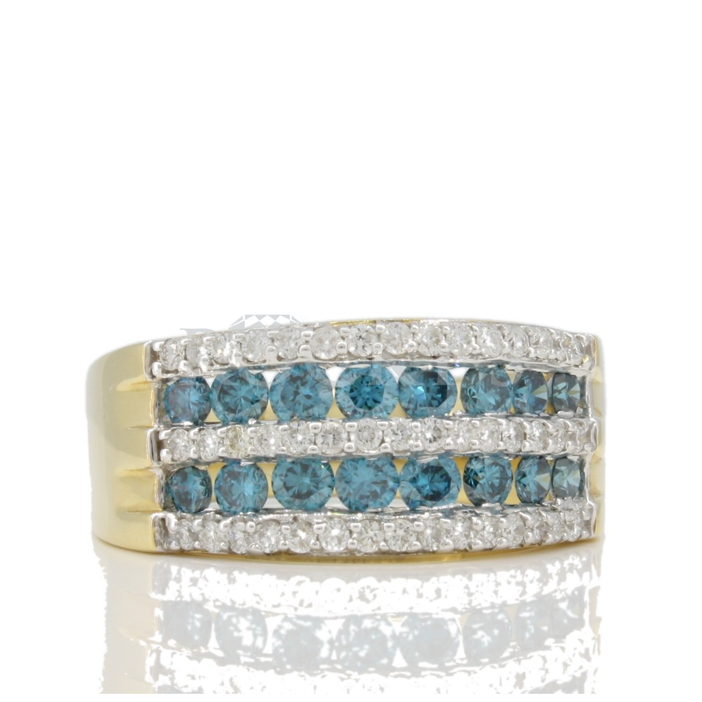 Blue diamond 2 rows Ring 1.39 carats
