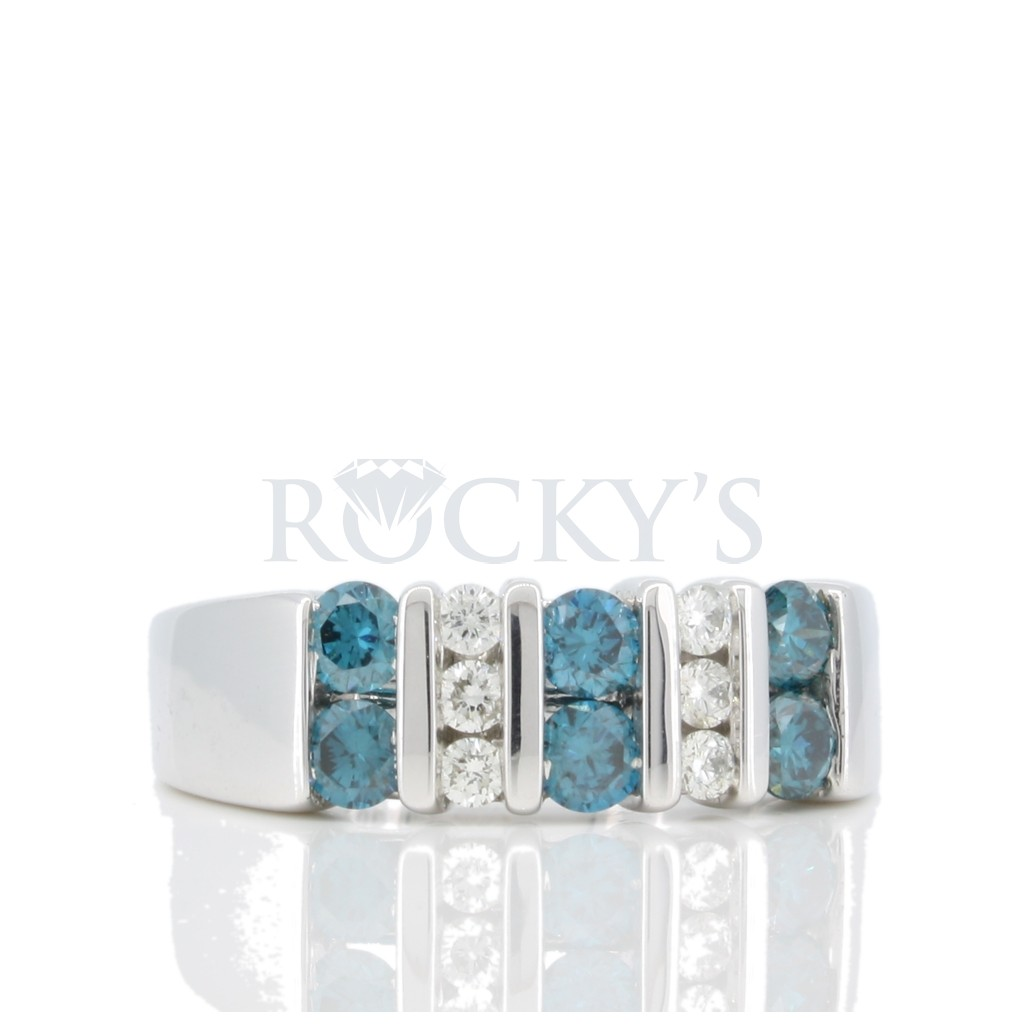 Blue diamond Channel Set ring with .89 carats