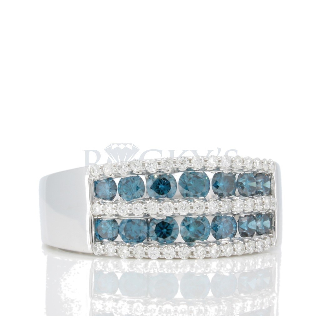 2 Rows Blue Diamond Band with 1.16 Carats