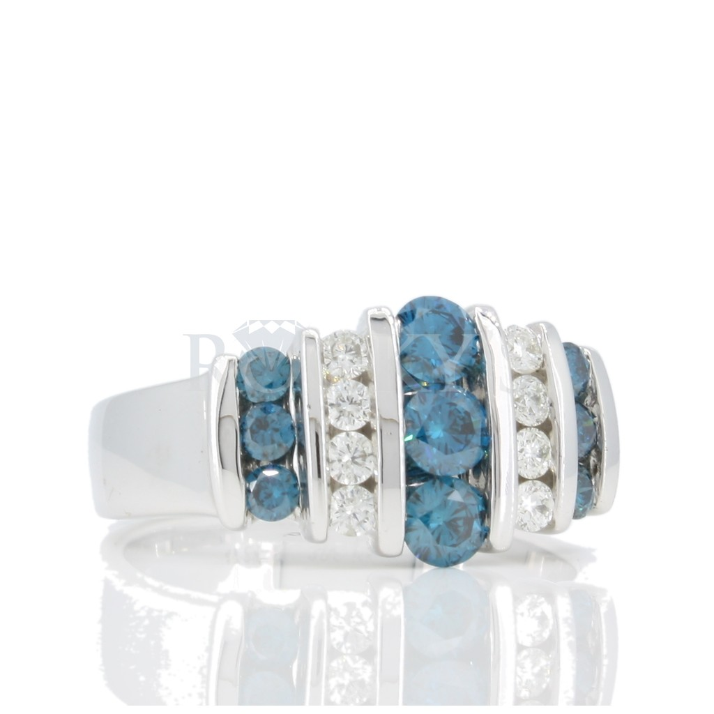 Blue diamond Channel Set Ring .95 carats