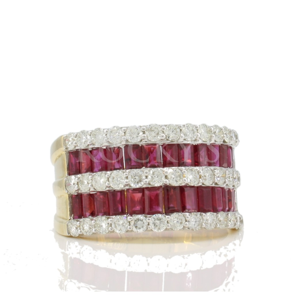 14k yellow gold ruby diamond ring with 3.76 carats