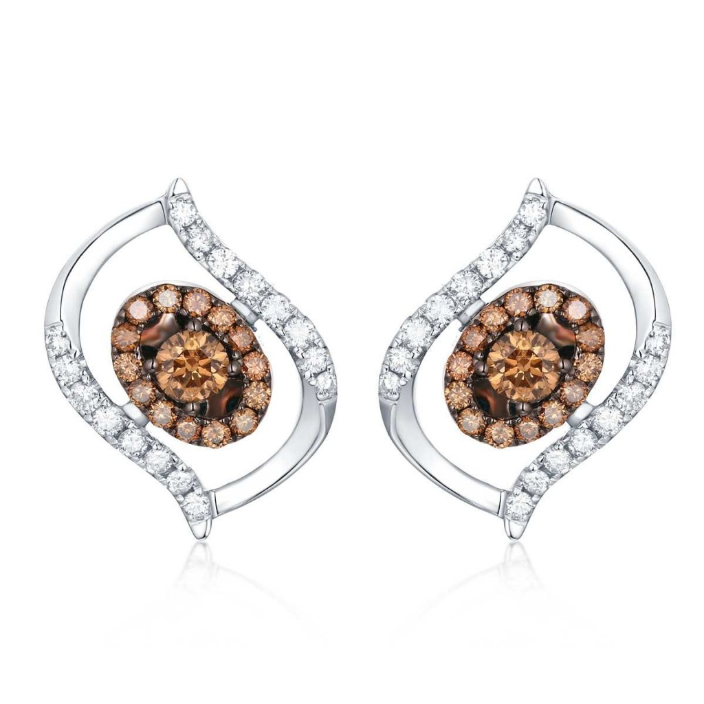 Brown Diamond Earrings with 3.43 Carats