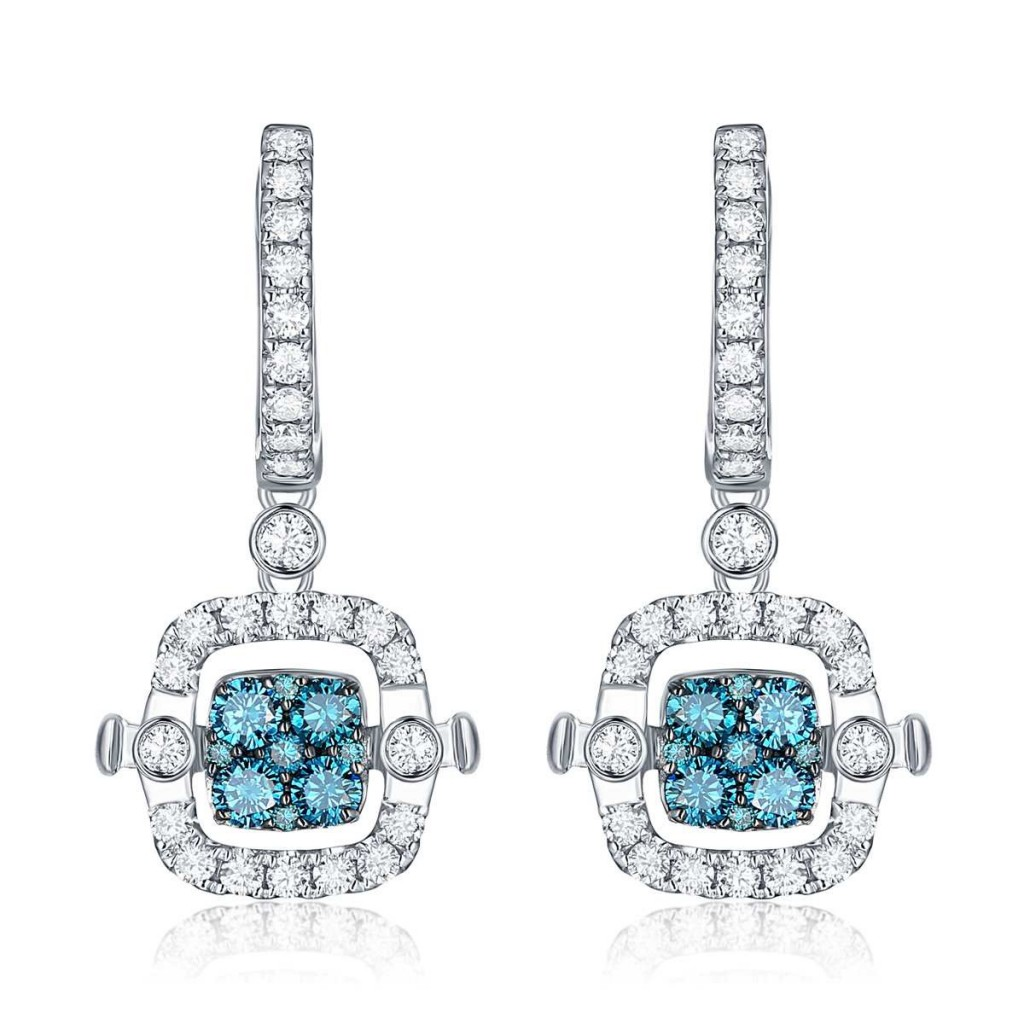 Blue Diamond Earrings with 1.82 Carats