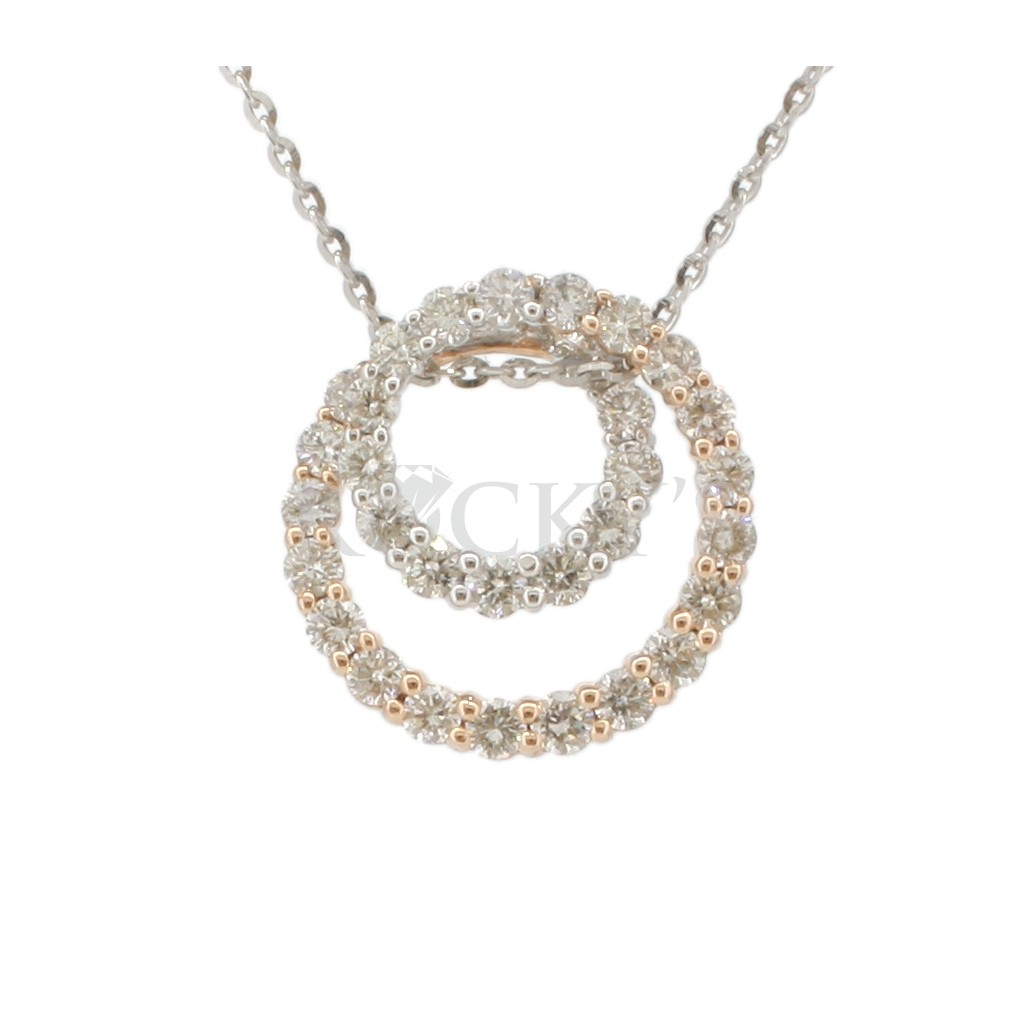 Two-Tone Diamond Pendent with 0.71 Carats