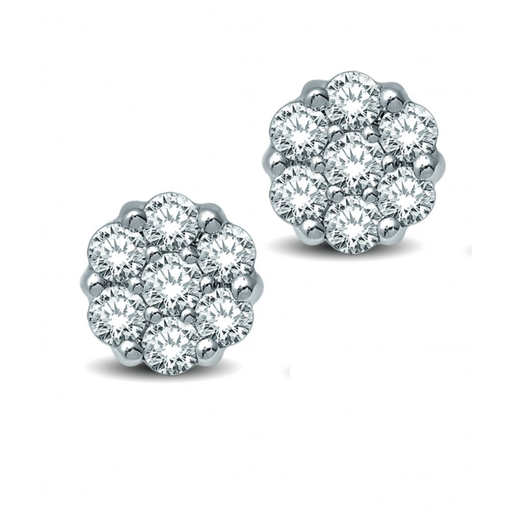 Flower Diamond Earrings with 0.75 Carats
