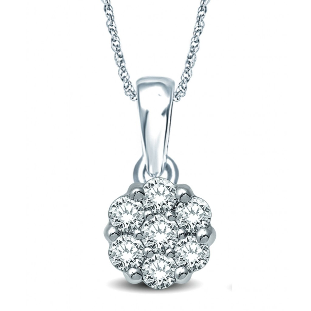 Flower Diamond Pendent with 0.75 Carats