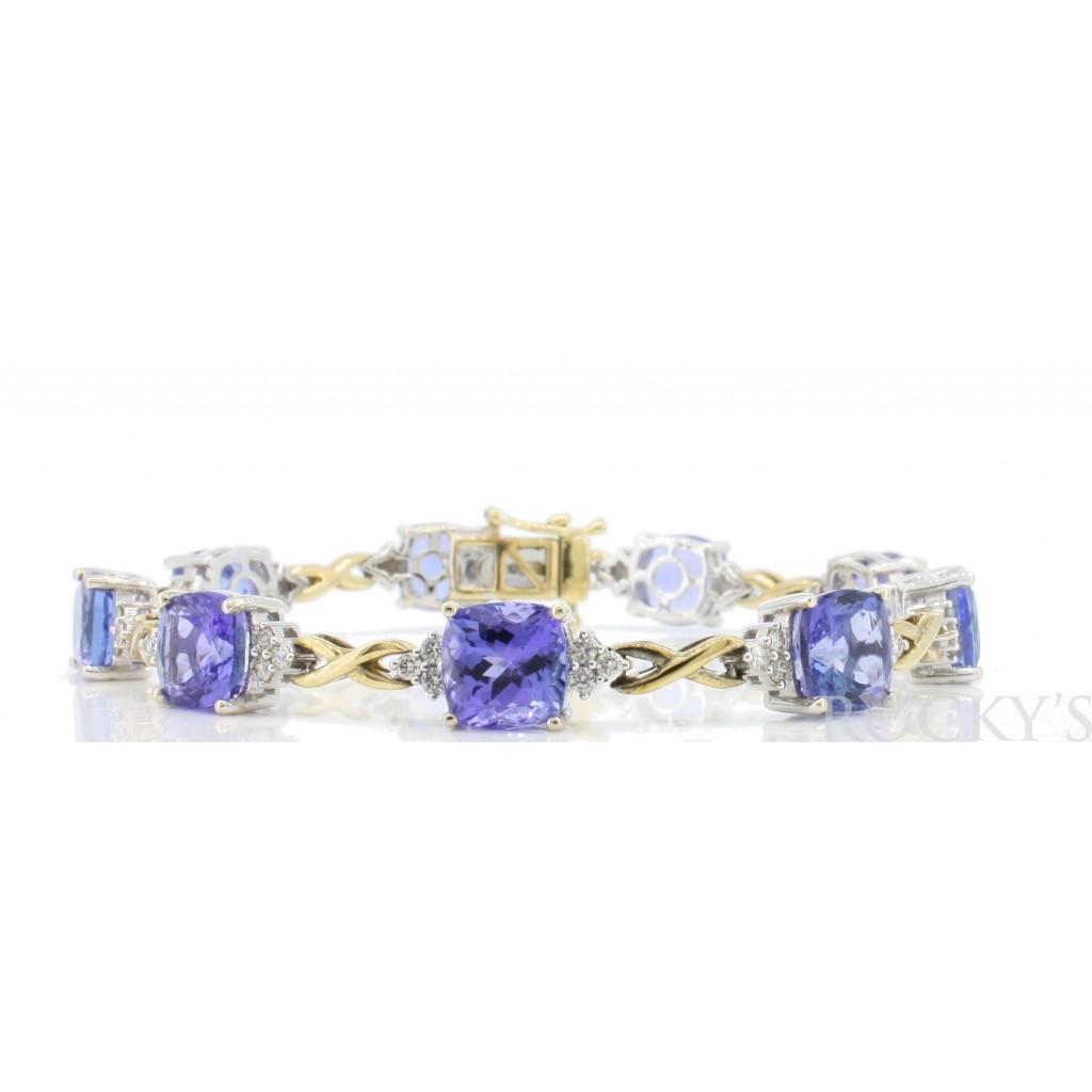 Two-Tone Tanzanite Diamond Bracelet with 25.27 Carats