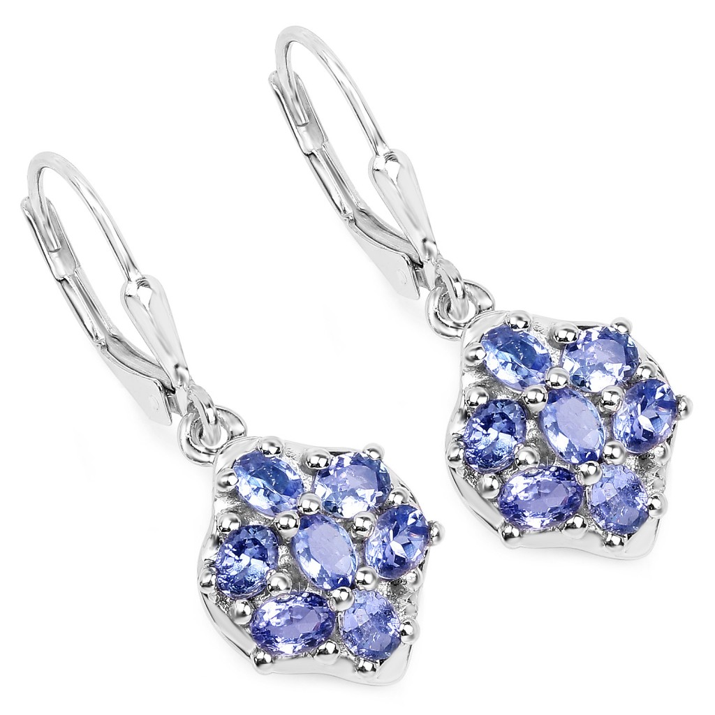 Tanzanite Silver Earrings with 2.38 Carats