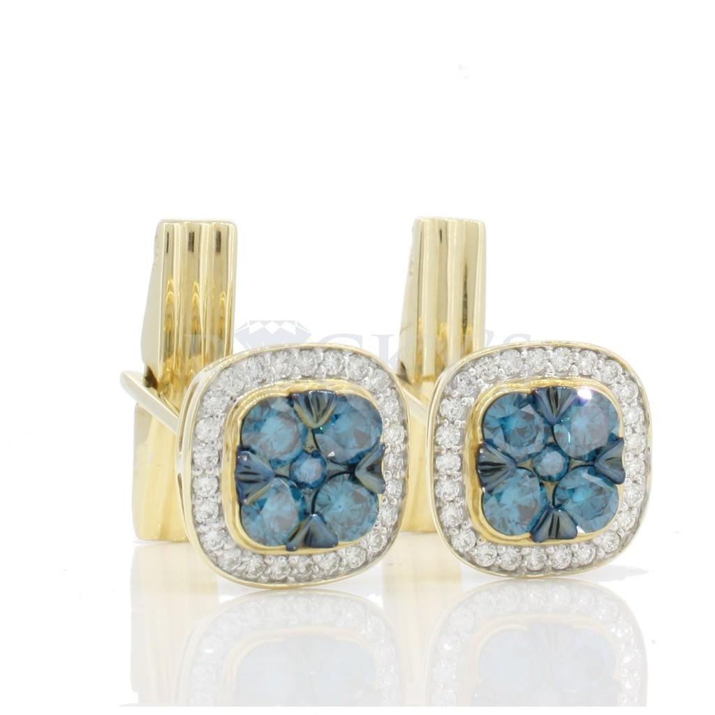 Men's Blue Diamond Cufflinks with 2.12 Carats