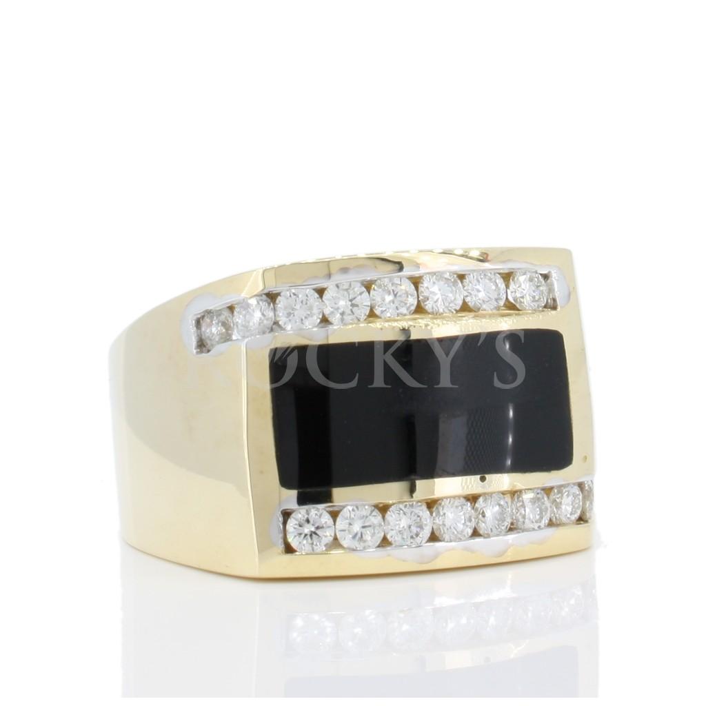 Men's Onyx Diamond Ring with 0.75 Carats