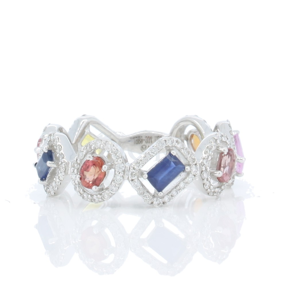 Multi Sapphire Diamond Ring with 1.85 Carats