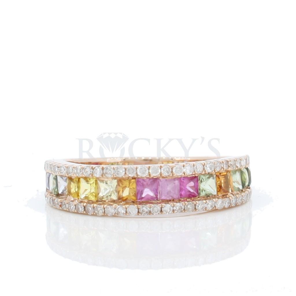 Multi Sapphire Diamond Ring with 1.38 Carats
