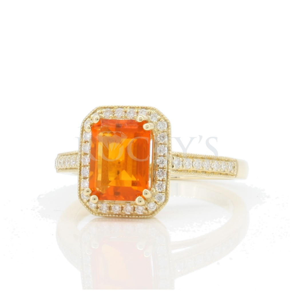 Mexican Fire Opal Ring with 1.31 carats