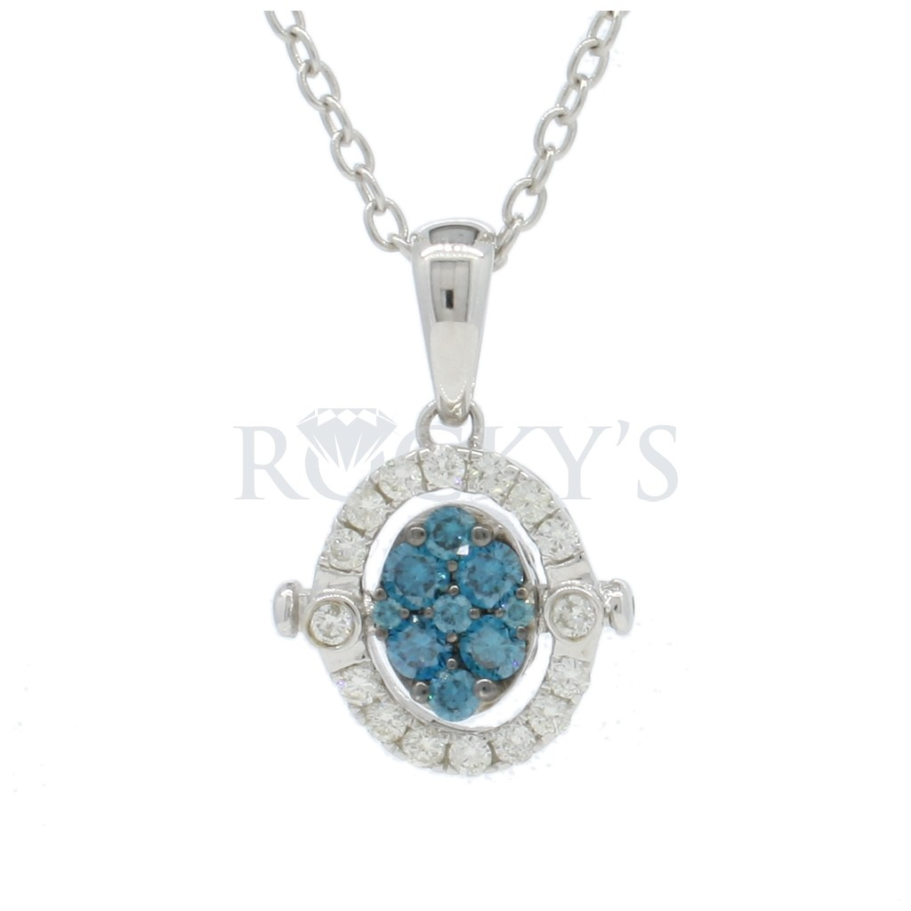 Blue Diamond Reversible Pendant with 0.92 Carats