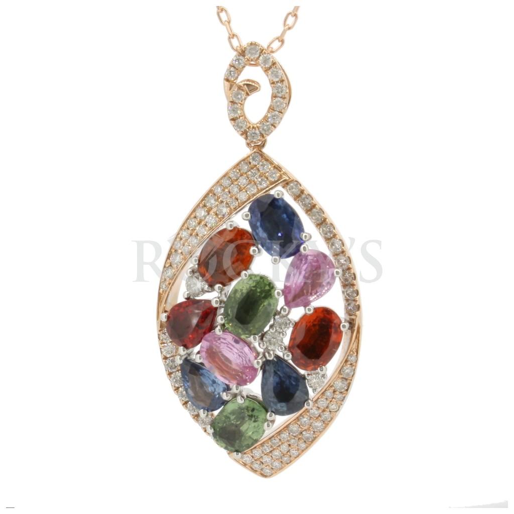 Multi Sapphire Diamond Pendant with 9.92 Carats