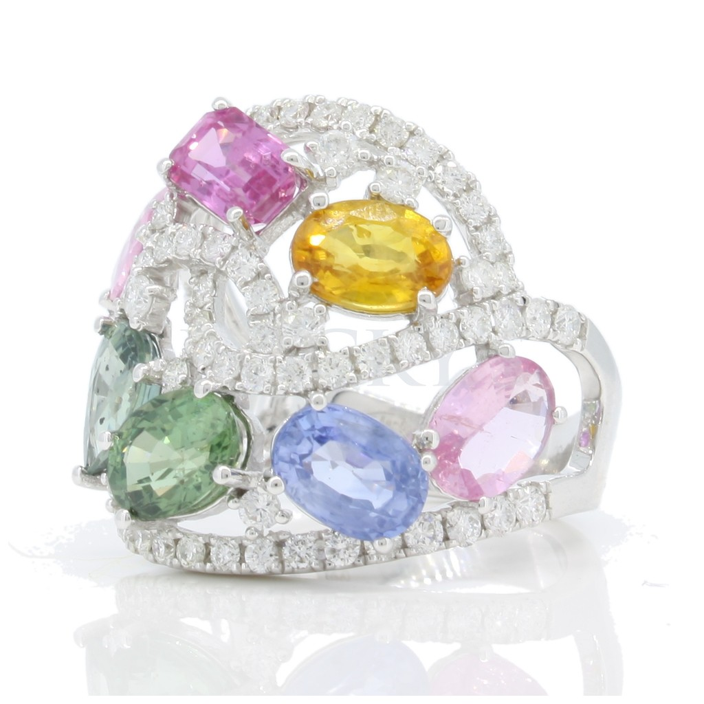 Multi Sapphire Diamond Ring with 7.15 Carats
