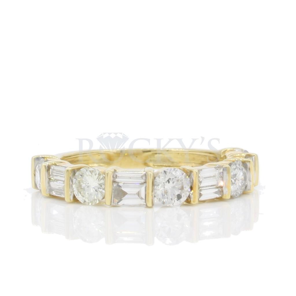 Yellow 14k Diamond Ring 0.42Tw Baguette Diamond 0.99Tw Rd Shape Diamond
