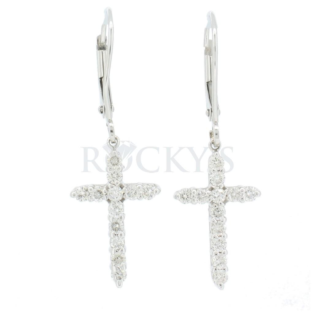 Diamond cross earring 0.19 carats