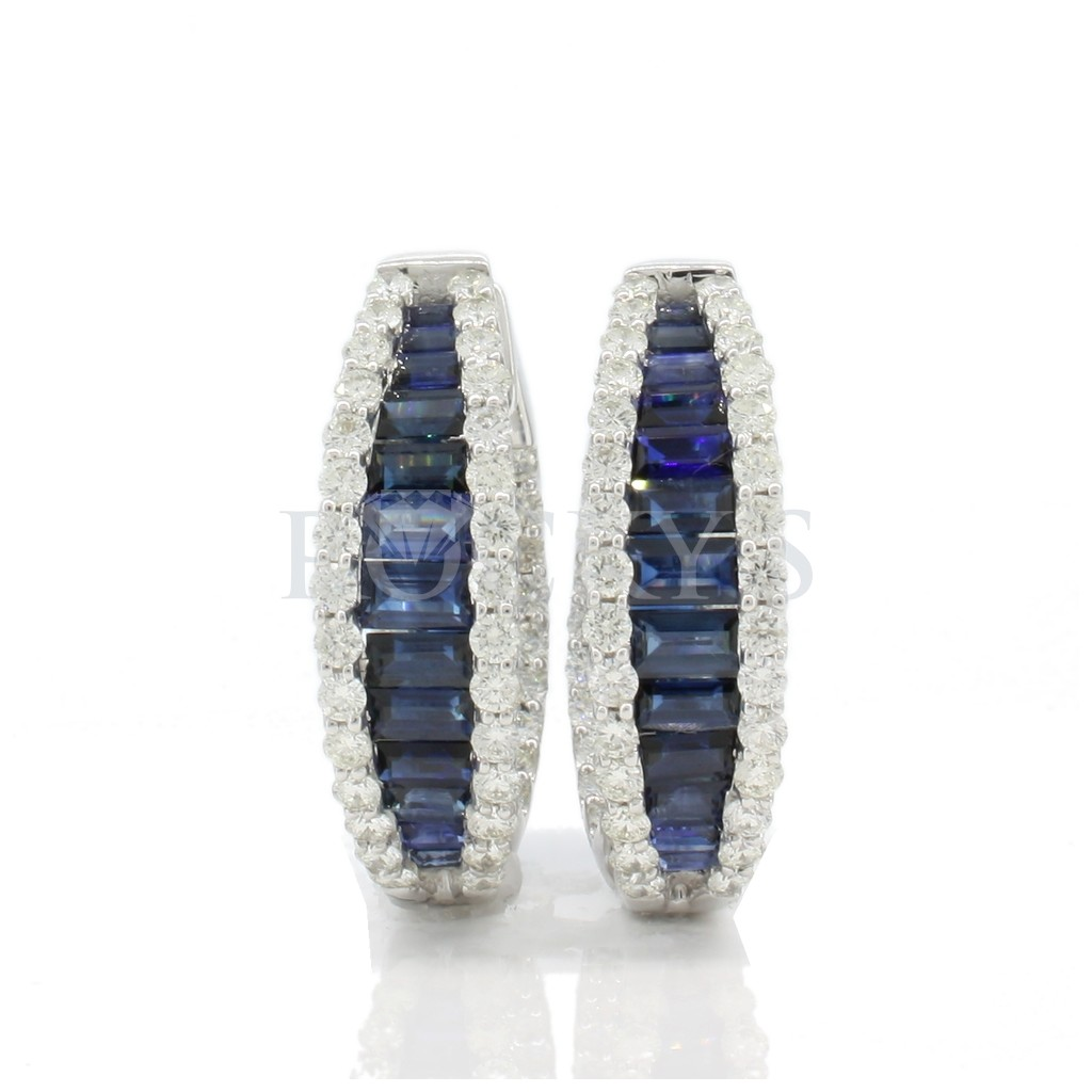 Sapphire and Diamonds hoops with 8.31 carats