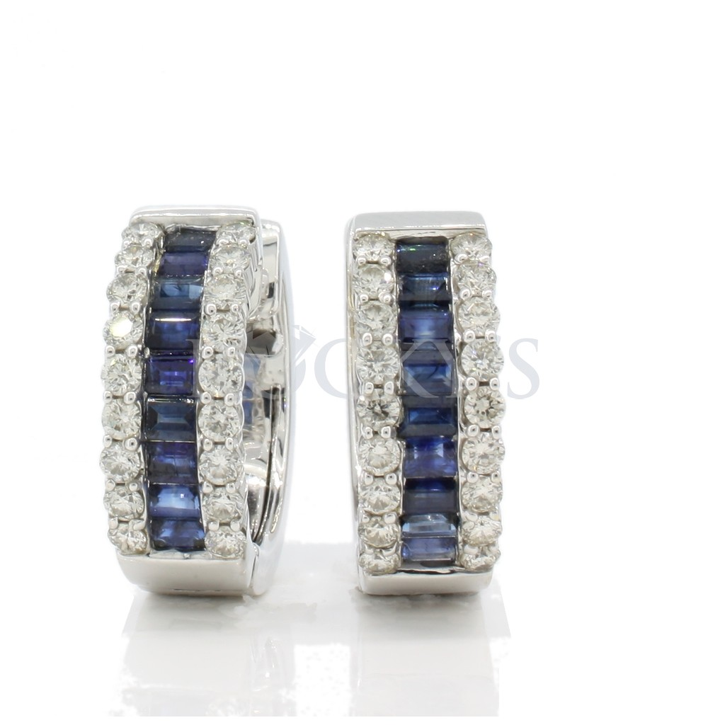 Sapphire and Diamonds hoops with 3.99 carats