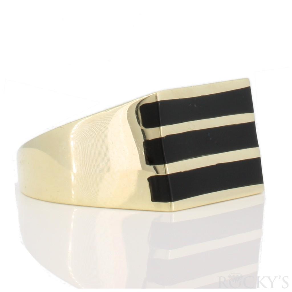 Onyx men's gold ring