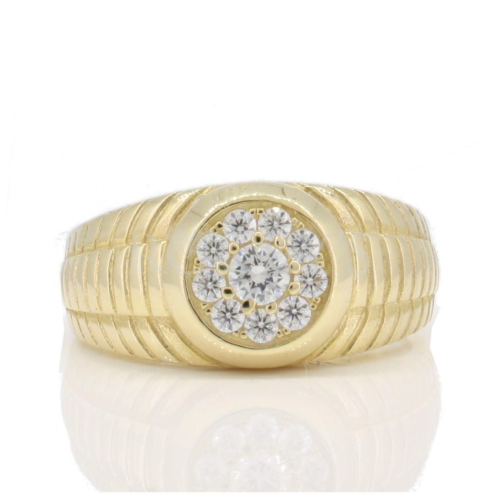 Yellow gold ring for men