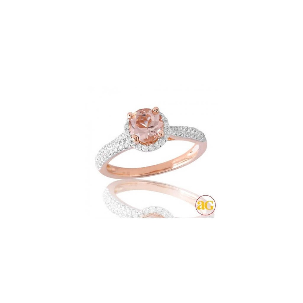 Morganite Diamond Ring with 1.28 Carats