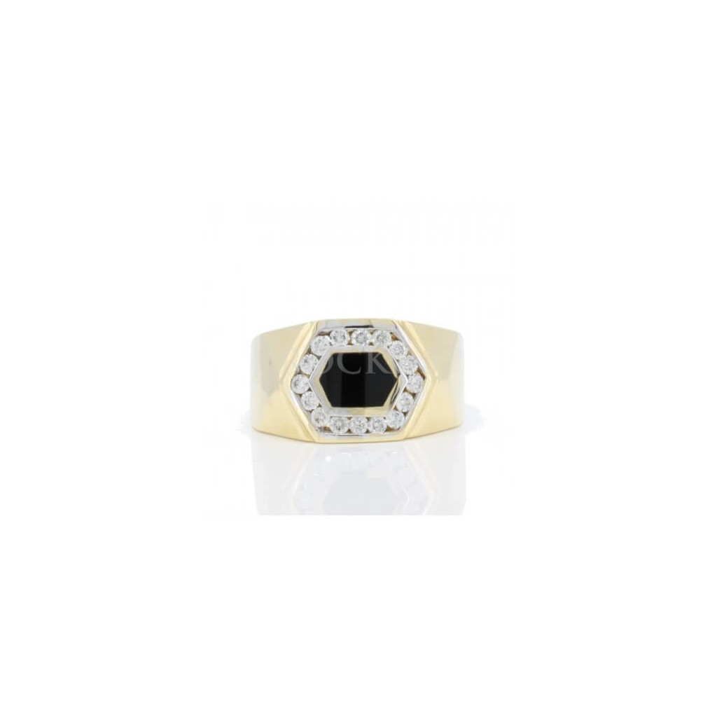Men's Onyx Diamond Ring with 0.55 Carats