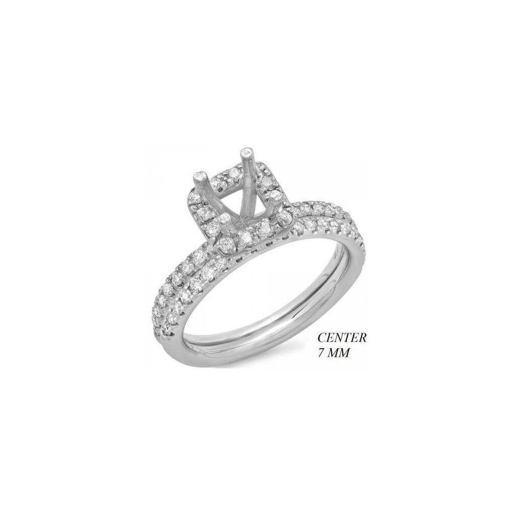 14k White gold Engagement semi-mount with 0.67 carat diamonds.