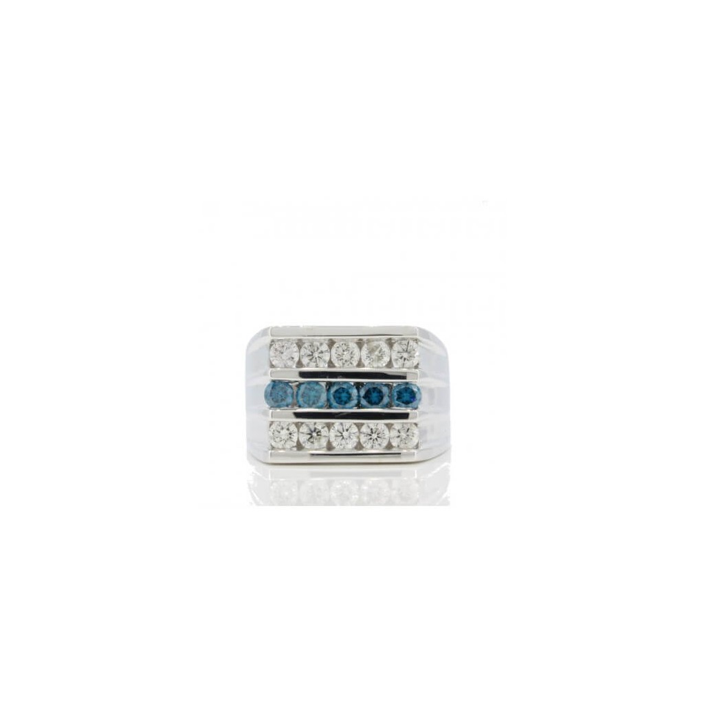 14K Men's Blue Diamond Ring 1.52cts