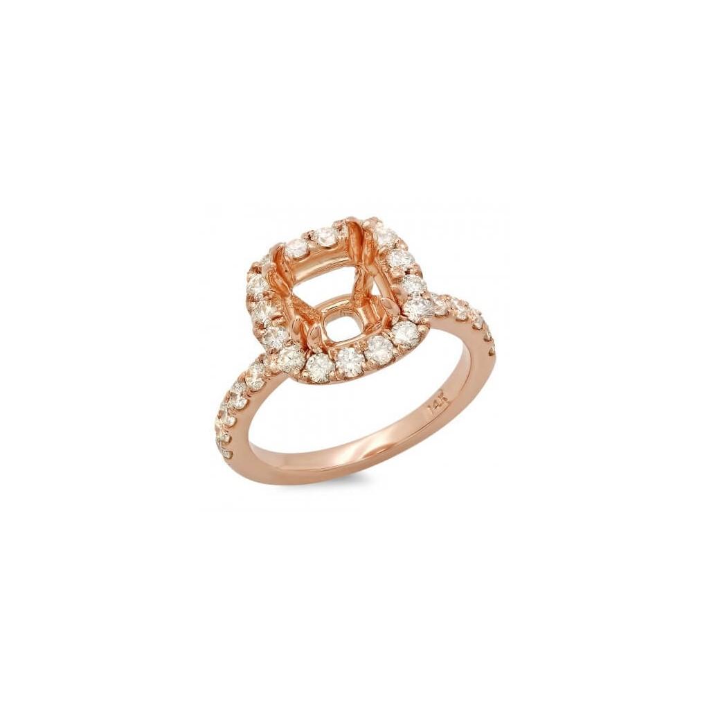 14k Rose gold Engagement semi-mount with 0.99 carat diamonds.