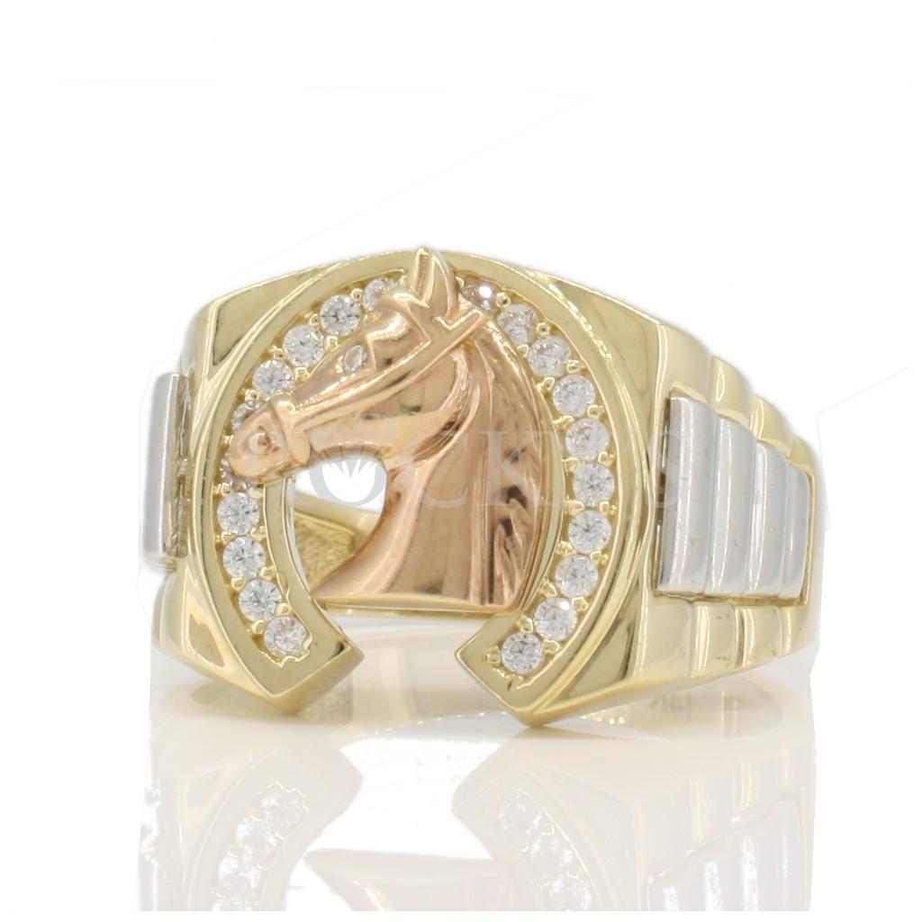 14k yellow gold horse ring
