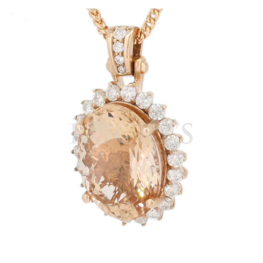 Morganite pendant with 14.95 carats