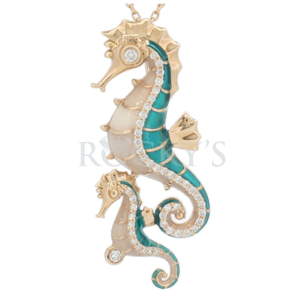 14k Enamel and diamonds seahorse