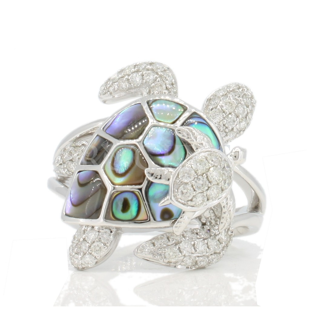 14k abalone and diamonds turtle ring