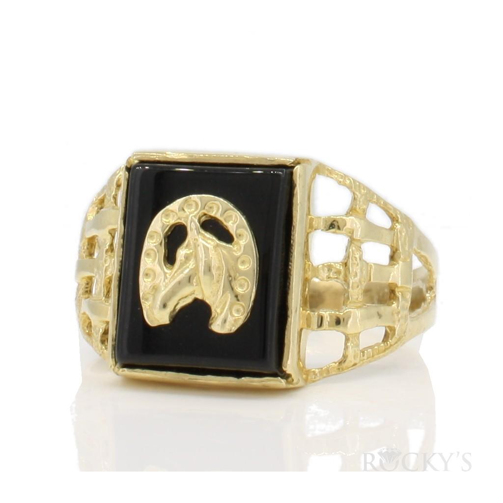 10k gold onyx ring horseshoes