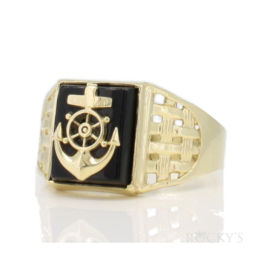 10k gold anchor onyx ring