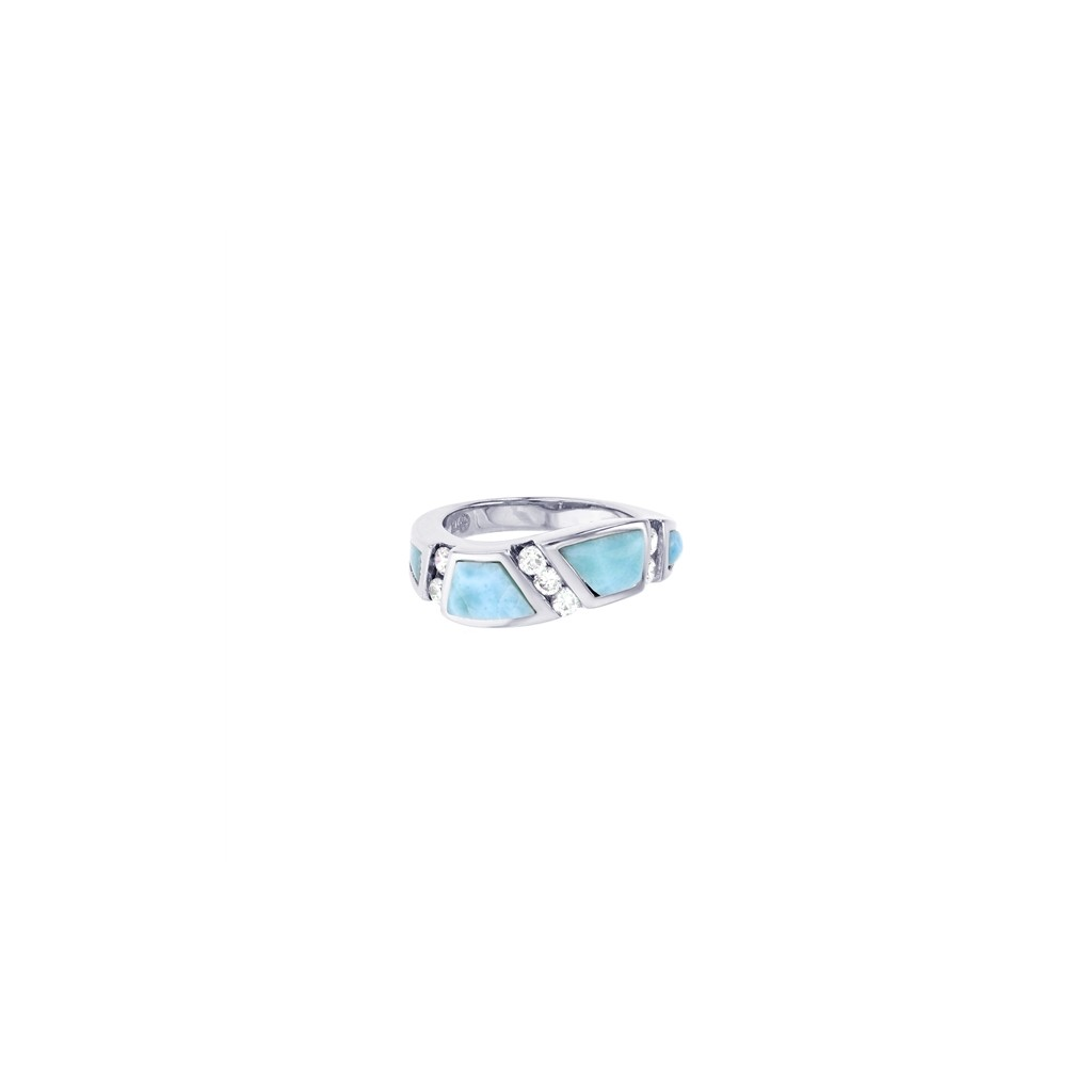 larimar ring with cubic zirconias setting in sterling silver