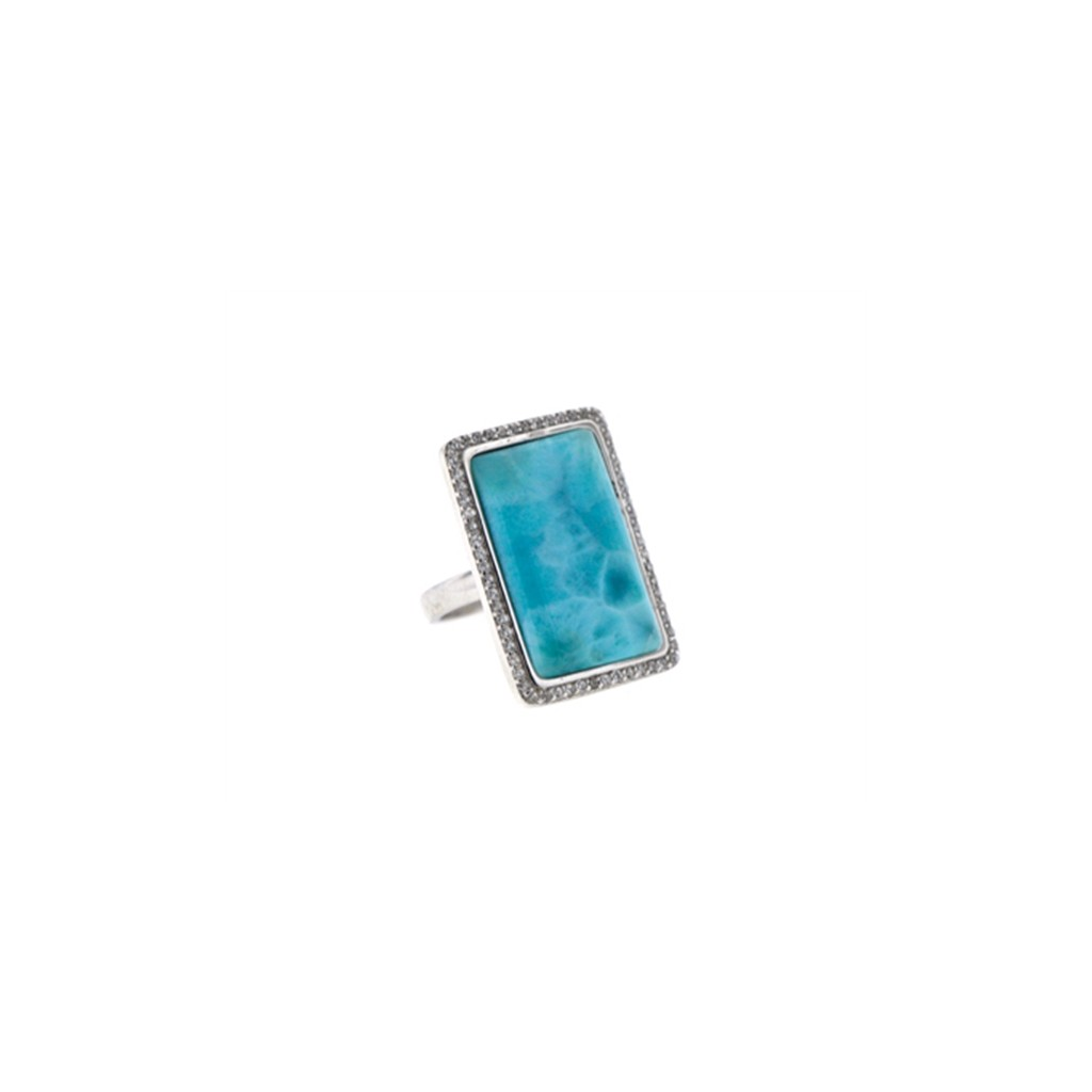 rectangle shape stone larimar ring