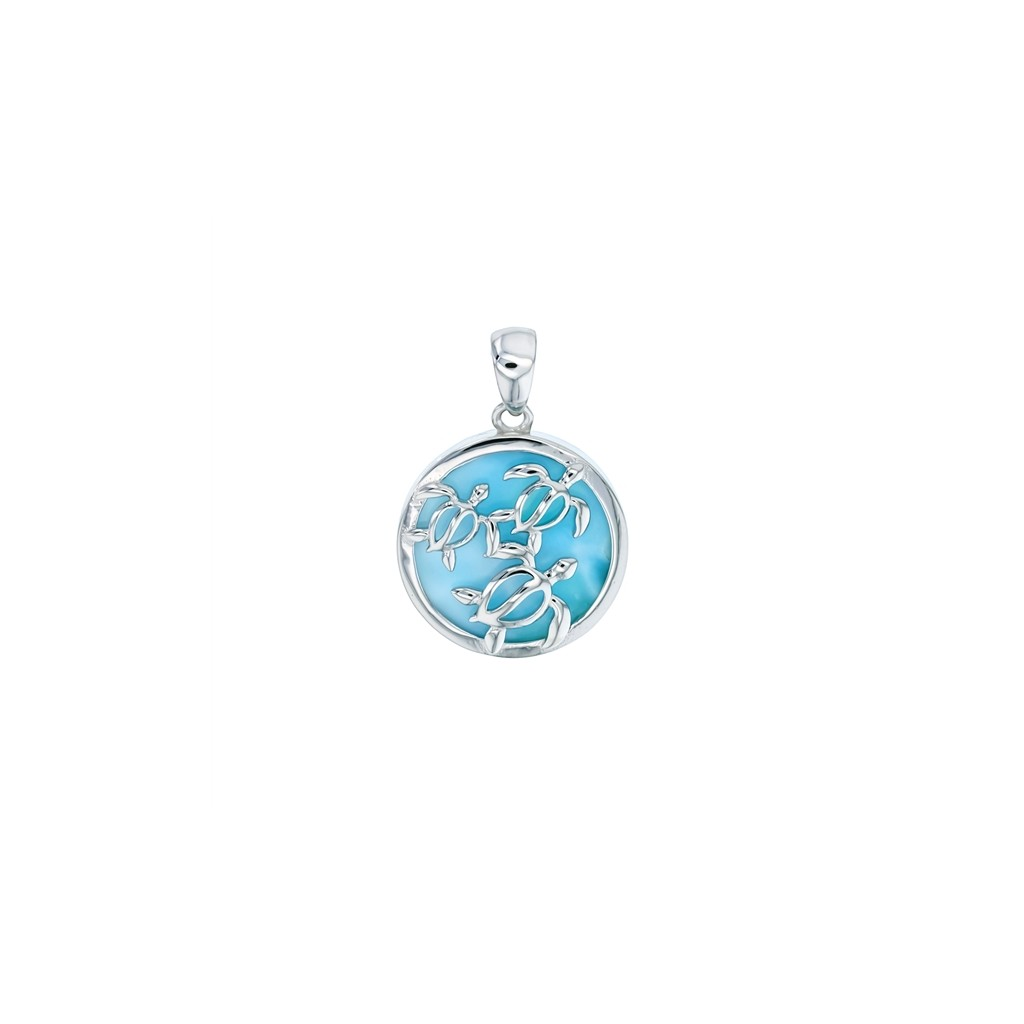 turtle larimar pendant setting in sterling silver