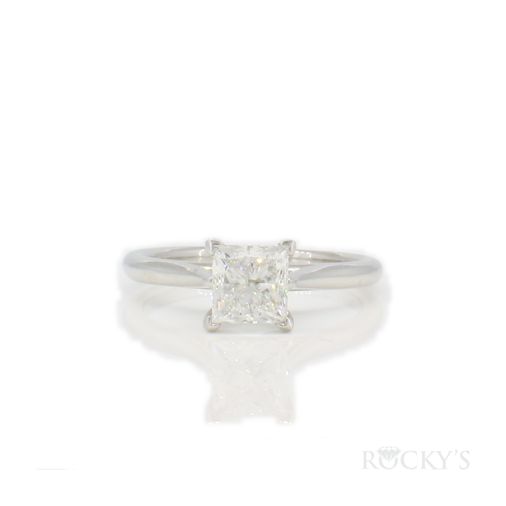 diamond solitaire ring with 1.01 carat princess cut