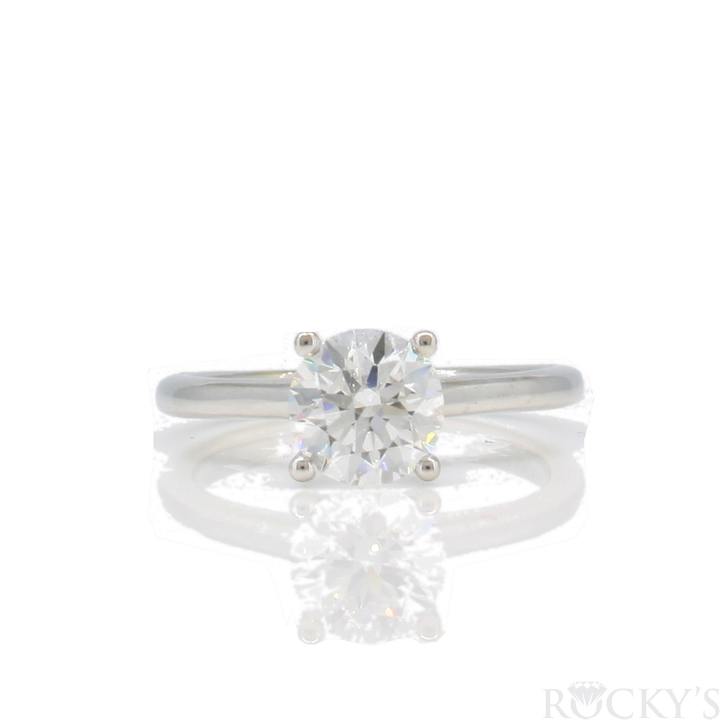 14k white gold plaint semi-mount with round cut diamond 0.90 carat