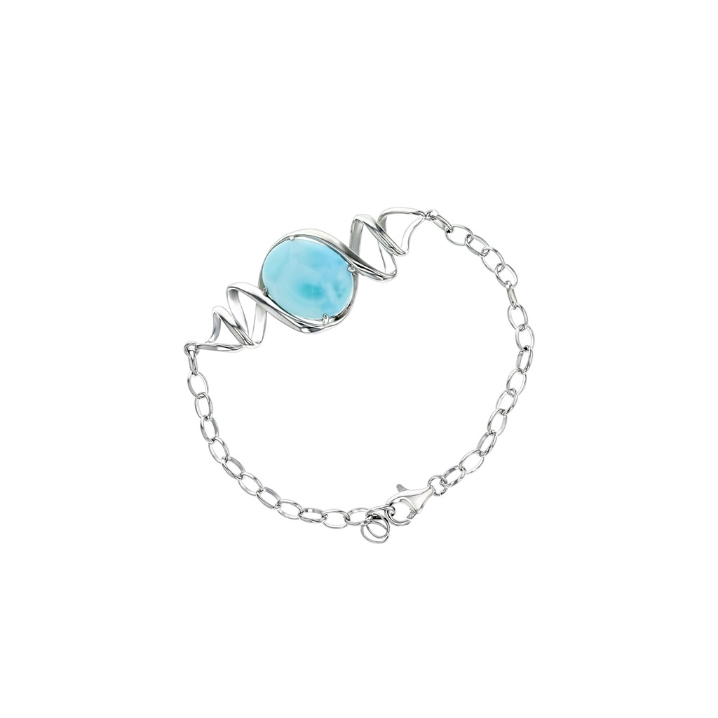 Larimar single stone bracelet